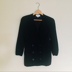 christian dior / solid black button blazer 12